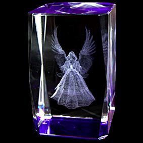 3D Laser Etched Crystal – 3 Inch Angle Crystal