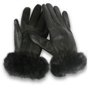 Women's Thermal Insulated Leather Gloves with Faux Fur Wrist