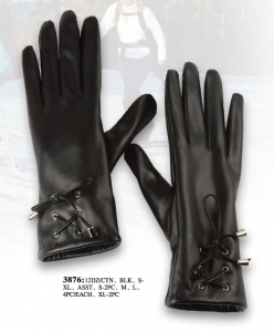 Women's Lace Leather Gloves with Fleece Insulation