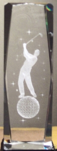 6 Inch 3D Laser Etched Crystal of Golfer