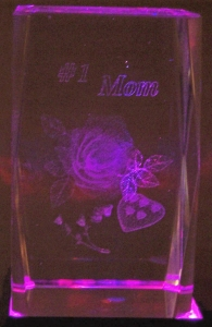 3 Inch 3D Laser Etched Crystal Flowers Heart Love Mom | 2 DZ