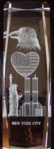 6 Inch 3D Laser Etched Crystal of NY Twin Towers & Statue of Liberty