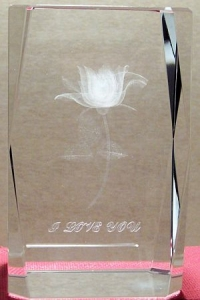 3 Inch 3D Laser Etched Crystal of a Rose