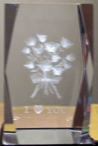 3 Inch 3D Laser Etched Crystal of a Bunch of Roses