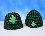 Ganja Leaf Fitted Hats | Weed Leaf Flat-Bill Cap