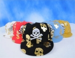 Skull and Cross Bones Fitted Hats | Gothic Flat Bill Hat