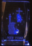 3 Inch Laser Etched Crystal | Statue of Liberty with Cross