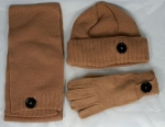 Hat Scarf Gloves Set with Fashion Buttons | Winter Set