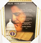 President Barack Obama Framed Portrait Praying - Obama 3D Image