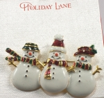 Holiday Lane Snowman Brooch - Snow Man Pin