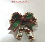 Candy Cane Brooch with Bow - Rainbow Colored Pins