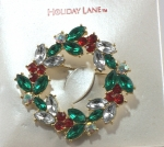Holiday Lane Wreath Brooch - Wreath Pin