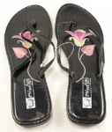 Women's Sequence Thong Sandals with Stitched Rose on Sole