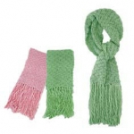 Oversized Crochet Knit Scarf with Fringe Ends