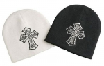 Beanie Hat with Rhinestone Studs Cross